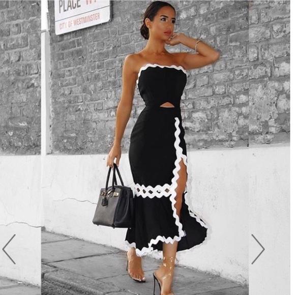 8209467f1406 Hot Miami Styles Dresses   Black White Scalloped Strapless Slit ...